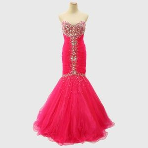 New JOVANI Hot Pink Mermaid Beaded Evening Gown